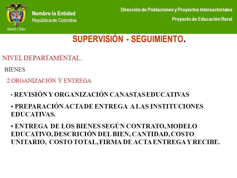 Nombre la Entidad República de Colombia Dirección de Poblaciones y Proyectos Intersectoriales Proyecto de Educación Rural SUPERVISIÓN - SEGUIMIENTO. N