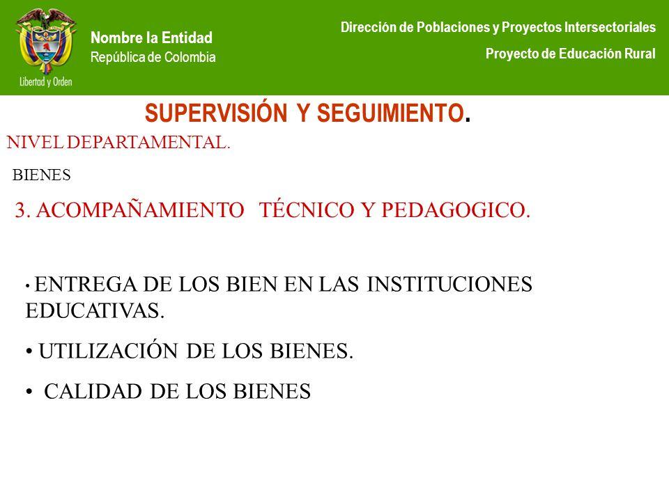 Nombre la Entidad República de Colombia Dirección de Poblaciones y Proyectos Intersectoriales Proyecto de Educación Rural SUPERVISIÓN Y SEGUIMIENTO. N