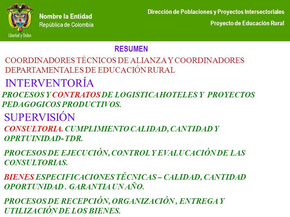 Nombre la Entidad República de Colombia Dirección de Poblaciones y Proyectos Intersectoriales Proyecto de Educación Rural RESUMEN COORDINADORES TÉCNIC