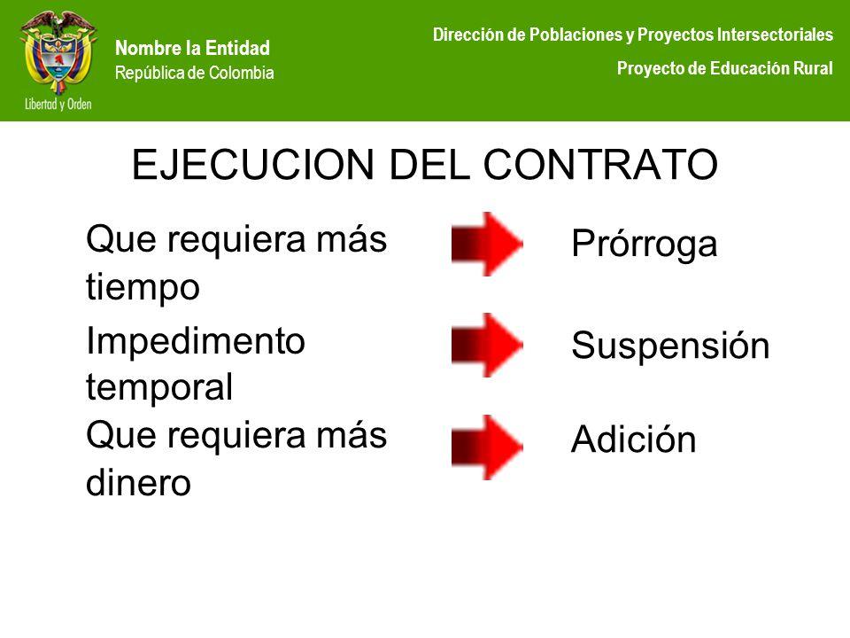Nombre la Entidad República de Colombia Dirección de Poblaciones y Proyectos Intersectoriales Proyecto de Educación Rural EJECUCION DEL CONTRATO Que r