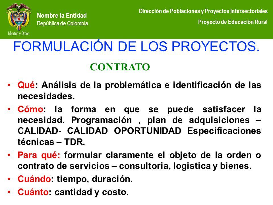 Nombre la Entidad República de Colombia Dirección de Poblaciones y Proyectos Intersectoriales Proyecto de Educación Rural FORMULACIÓN DE LOS PROYECTOS