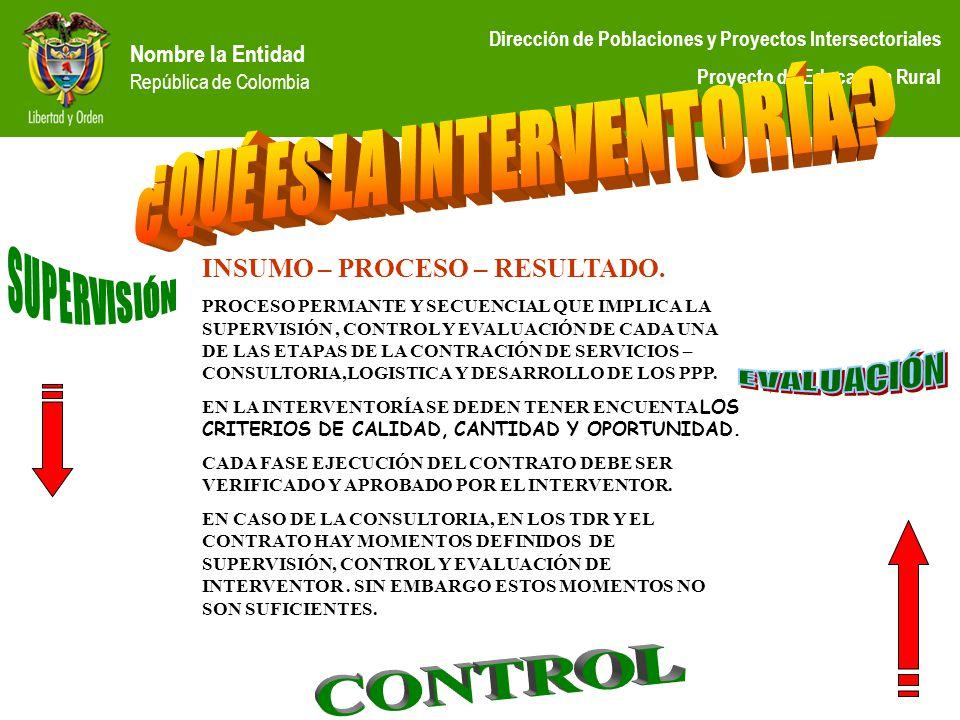 Nombre la Entidad República de Colombia Dirección de Poblaciones y Proyectos Intersectoriales Proyecto de Educación Rural INSUMO – PROCESO – RESULTADO