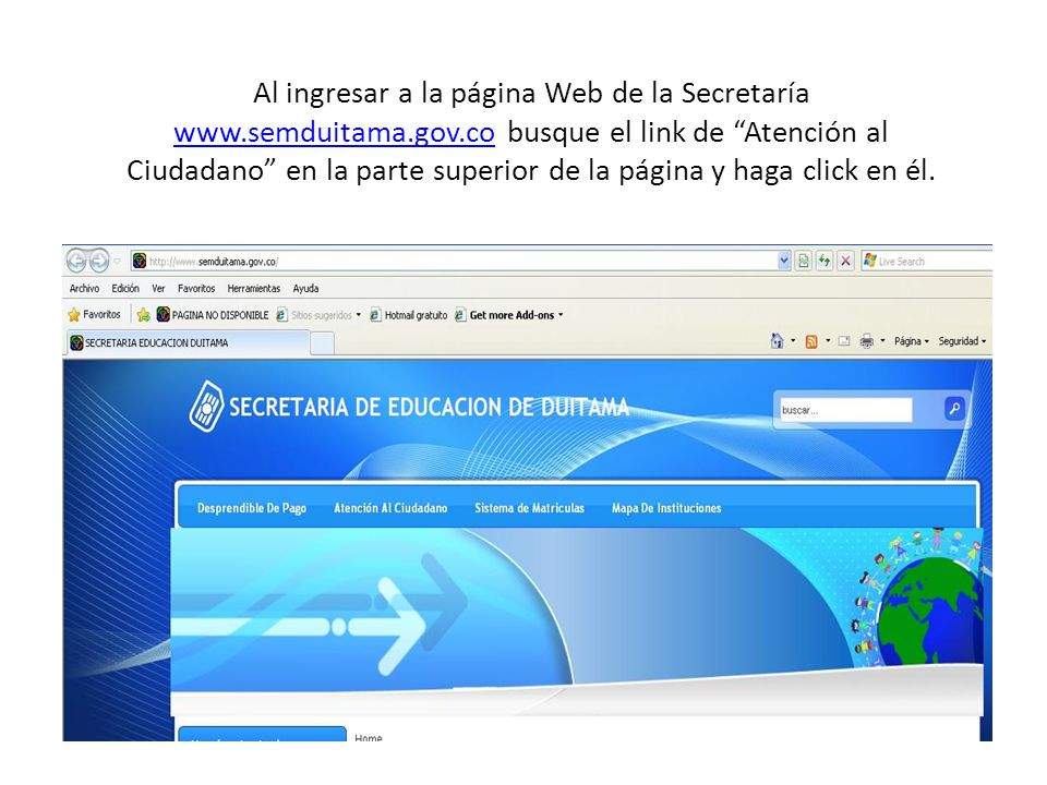 Al dar click en Atención al ciudadano ingresará a la página que encuentra a continuación: