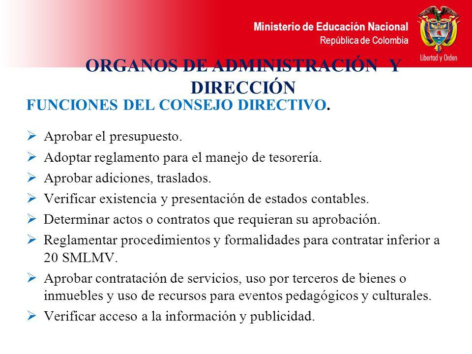 Ministerio de Educación Nacional República de Colombia Mayo 05 de 2003 FUNCIONES DE LOS FSE Presupuestal: Elaboración y ejecución del presupuesto de i