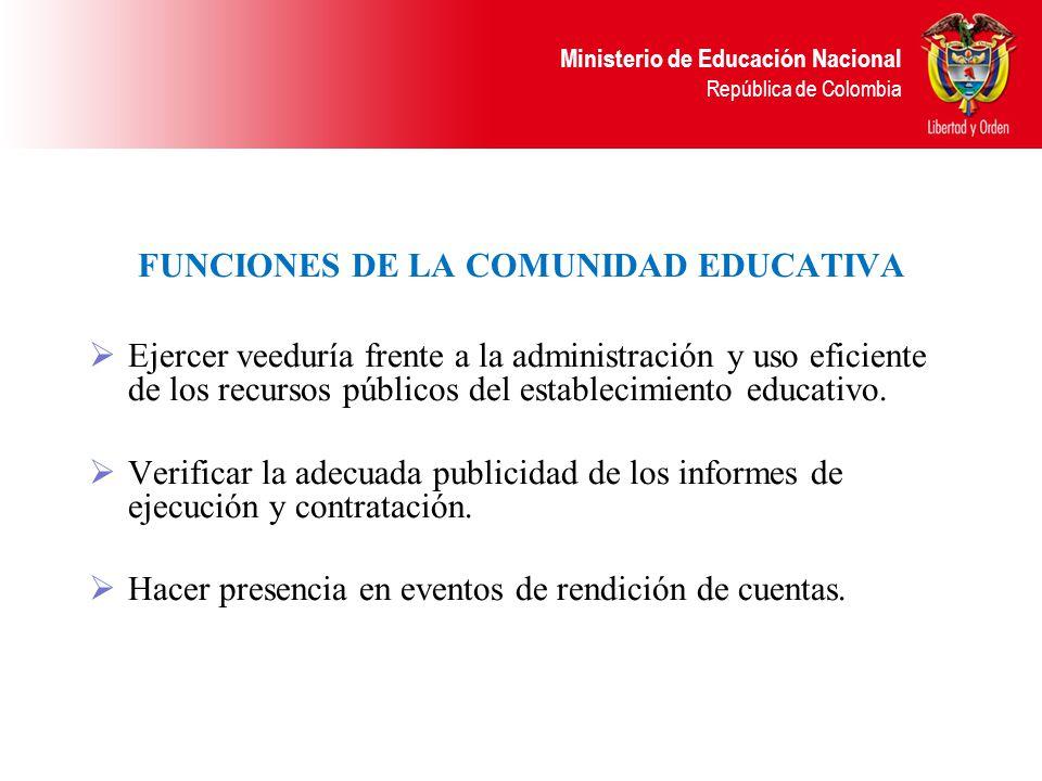 Ministerio de Educación Nacional República de Colombia RESPONSABILIDADES DE LOS RECTORES O DIRECTORES. Ejercer como ordenador del gasto. Elaborar el p