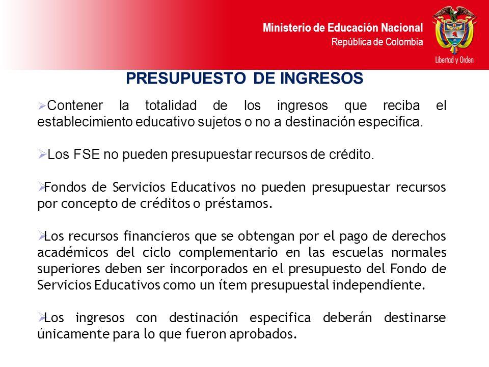 Ministerio de Educación Nacional República de Colombia PRESUPUESTO DE INGRESOS Clasificación de los ingresos aplicable a Fondos de Servicios Educativo