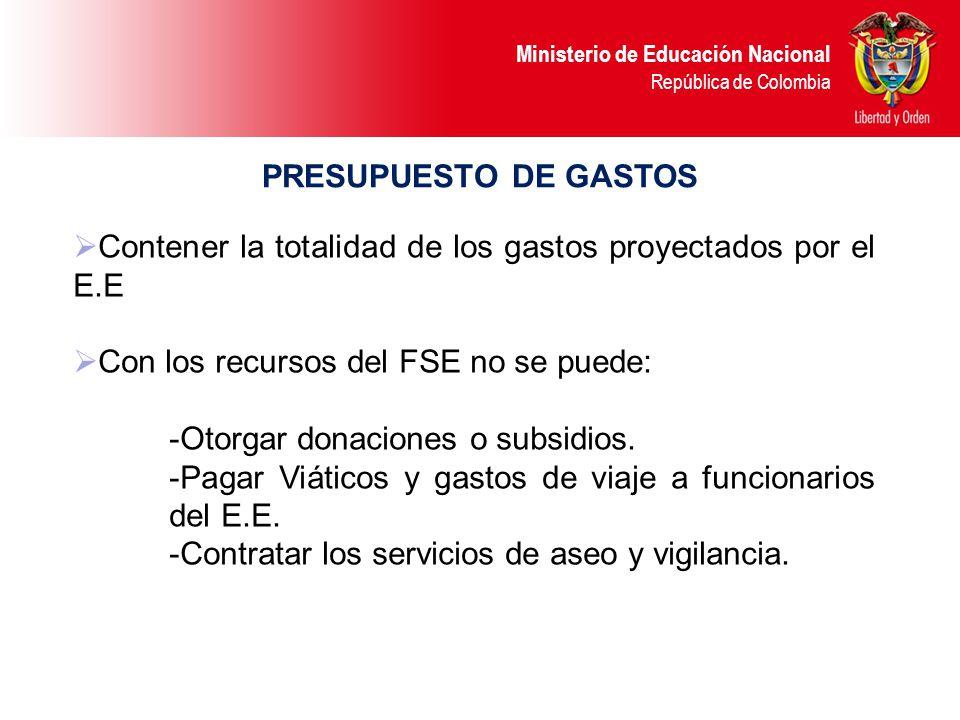 Ministerio de Educación Nacional República de Colombia PRESUPUESTO DE GASTOS Dentro del rubro de adquisición de servicios: comunicaciones, publicacion