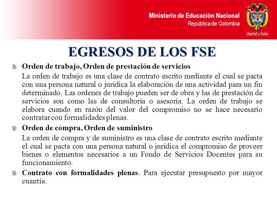 Ministerio de Educación Nacional República de Colombia TESORERÍA La cuenta, mediante la cual el establecimiento educativo administra los recursos del