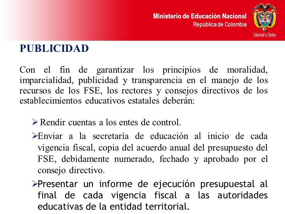 Ministerio de Educación Nacional República de Colombia EGRESOS DE LOS FSE Orden de trabajo, Orden de prestación de servicios La orden de trabajo es un