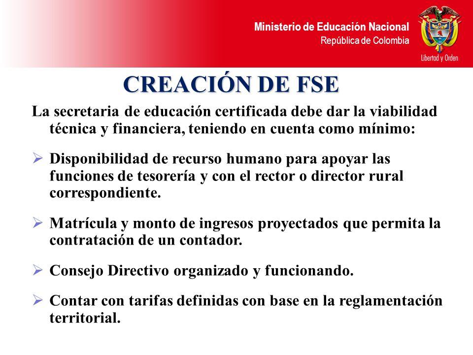 Ministerio de Educación Nacional República de Colombia Publicar en un lugar visible y de fácil acceso de la institución, el informe de ejecución de los recursos del FSE y los estados contables con la periodicidad que indique el consejo directivo y la secretaria de educación.