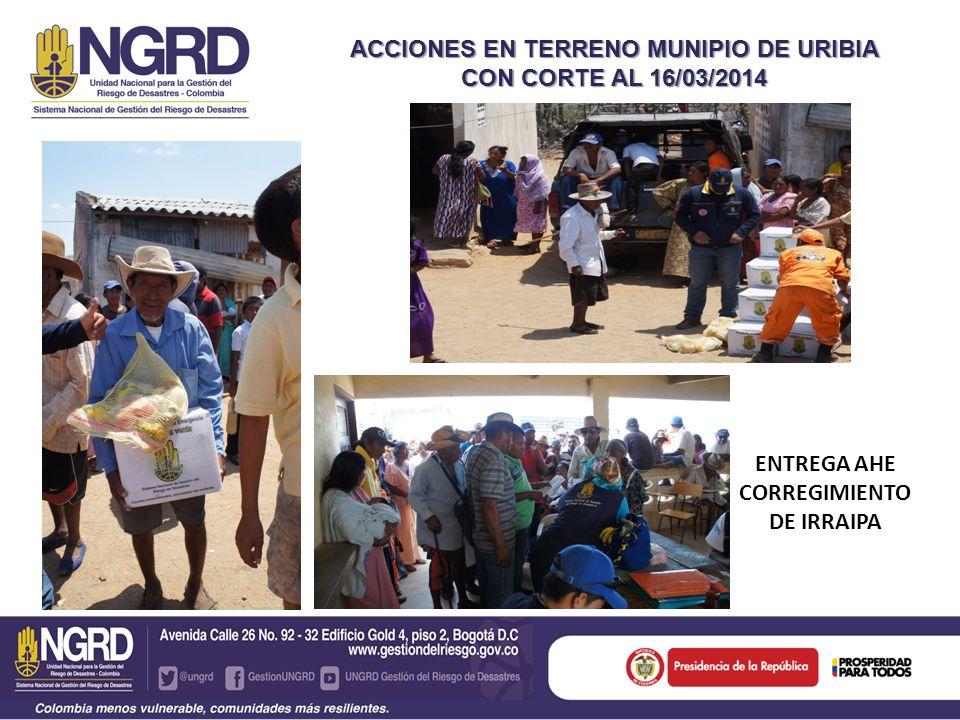 ACCIONES EN TERRENO MUNIPIO DE URIBIA CON CORTE AL 16/03/2014 ENTREGA AHE CORREGIMIENTO DE IRRAIPA