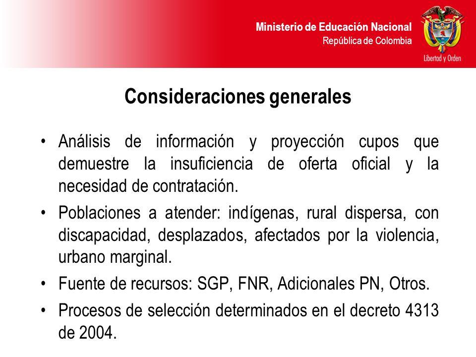 Ministerio de Educación Nacional República de Colombia Consideraciones generales Análisis de información y proyección cupos que demuestre la insuficie