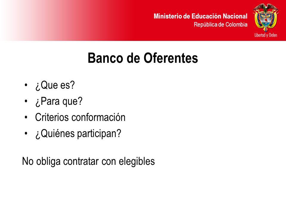 Ministerio de Educación Nacional República de Colombia Banco de Oferentes ¿Que es? ¿Para que? Criterios conformación ¿Quiénes participan? No obliga co