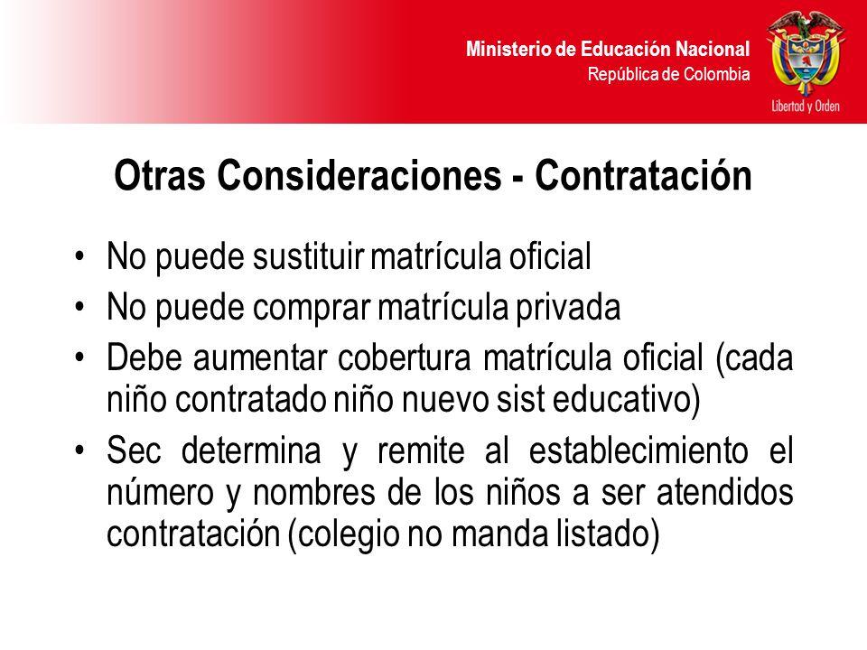 Ministerio de Educación Nacional República de Colombia Otras Consideraciones - Contratación No puede sustituir matrícula oficial No puede comprar matr