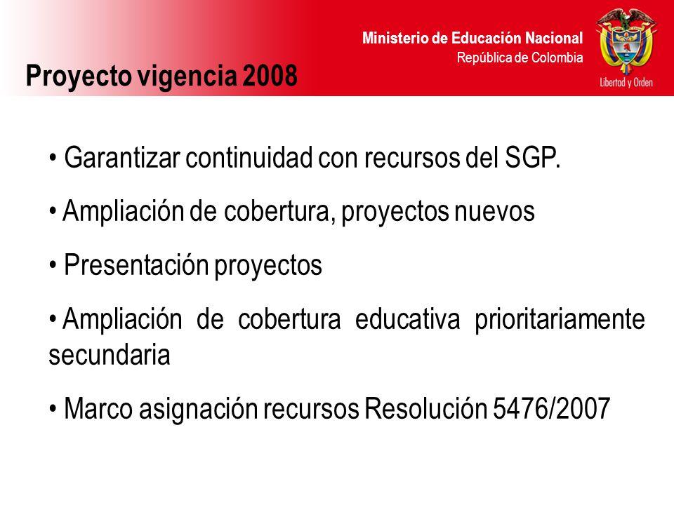 Ministerio de Educación Nacional República de Colombia Proyecto vigencia 2008 Garantizar continuidad con recursos del SGP. Ampliación de cobertura, pr