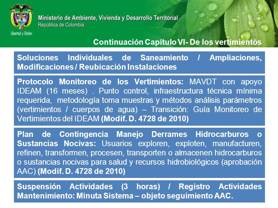 Continuación Capítulo VI- De los vertimientos Soluciones Individuales de Saneamiento / Ampliaciones, Modificaciones / Reubicación Instalaciones Protoc