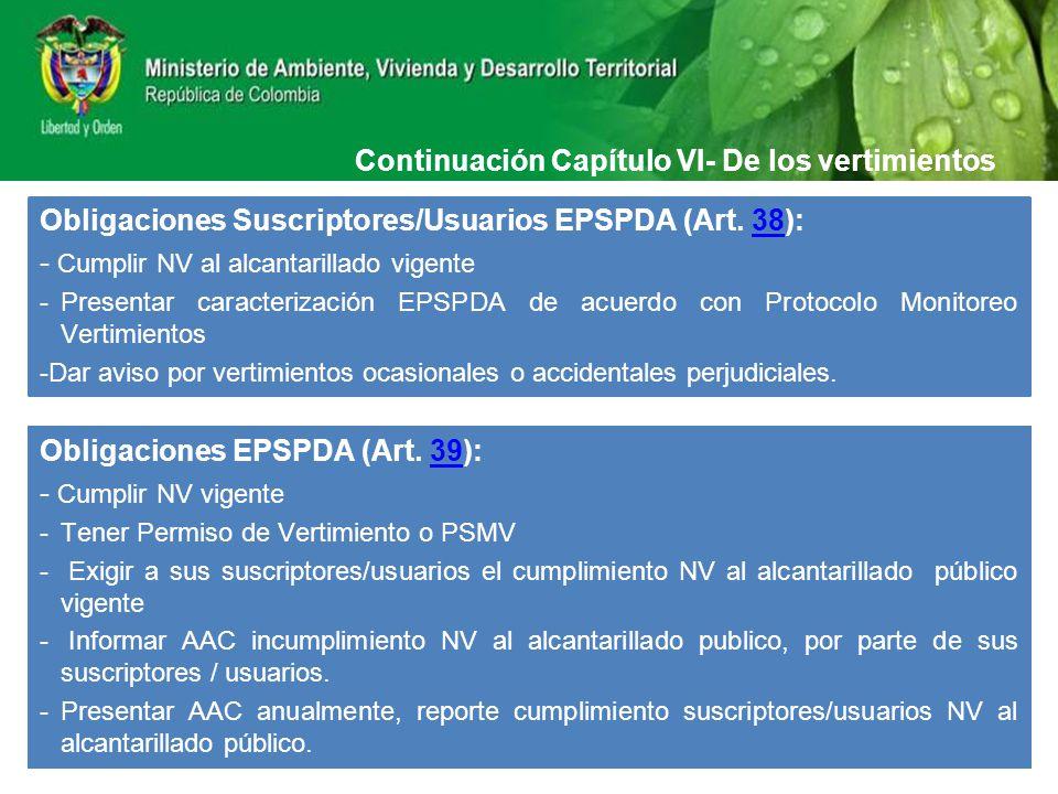 Continuación Capítulo VI- De los vertimientos Obligaciones Suscriptores/Usuarios EPSPDA (Art. 38):38 - Cumplir NV al alcantarillado vigente -Presentar