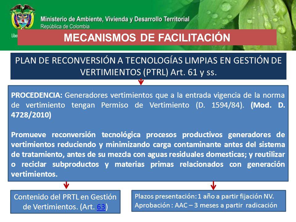 PLAN DE RECONVERSIÓN A TECNOLOGÍAS LIMPIAS EN GESTIÓN DE VERTIMIENTOS (PTRL) Art. 61 y ss. Plazos presentación: 1 año a partir fijación NV. Aprobación