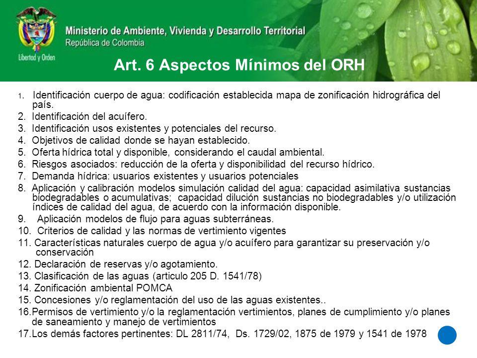 Art. 6 Aspectos Mínimos del ORH 1. Identificación cuerpo de agua: codificación establecida mapa de zonificación hidrográfica del país. 2. Identificaci