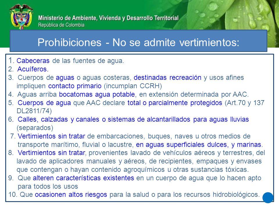 Prohibiciones - No se admite vertimientos: 1. Cabeceras de las fuentes de agua. 2. Acuíferos. 3. Cuerpos de aguas o aguas costeras, destinadas recreac