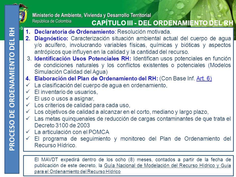 CAPÍTULO IV - DESTINACIÓN GENÉRICA DE LAS AGUAS SUPERFICIALES, SUBTERRÁNEAS Y MARINAS 1.Uso para consumo humano y doméstico 2.Uso para la preservación de flora y fauna 3.Uso para pesca, maricultura y acuicultura 4.Uso agrícola 5.Uso pecuario 6.Uso recreativo 7.Uso industrial ( Calidad – Cantidad ) 8.Navegación y transporte acuático 9.Uso estético