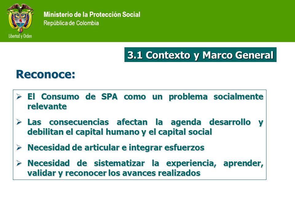 Ministerio de la Protección Social República de Colombia Reconoce: El Consumo de SPA como un problema socialmente relevante El Consumo de SPA como un