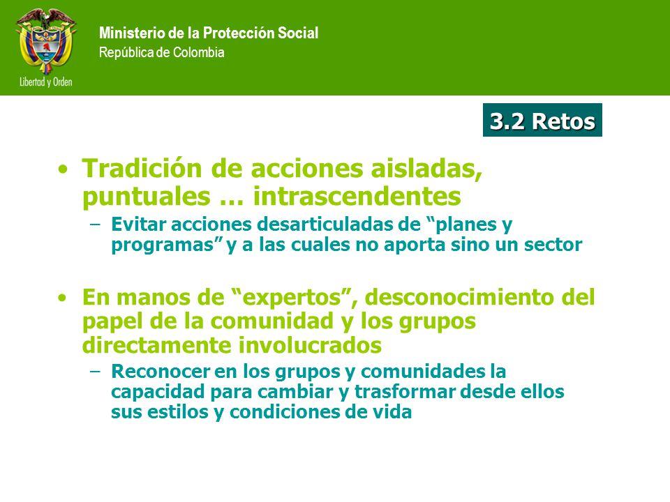 3.2 Retos Ministerio de la Protección Social República de Colombia Tradición de acciones aisladas, puntuales … intrascendentes –Evitar acciones desart