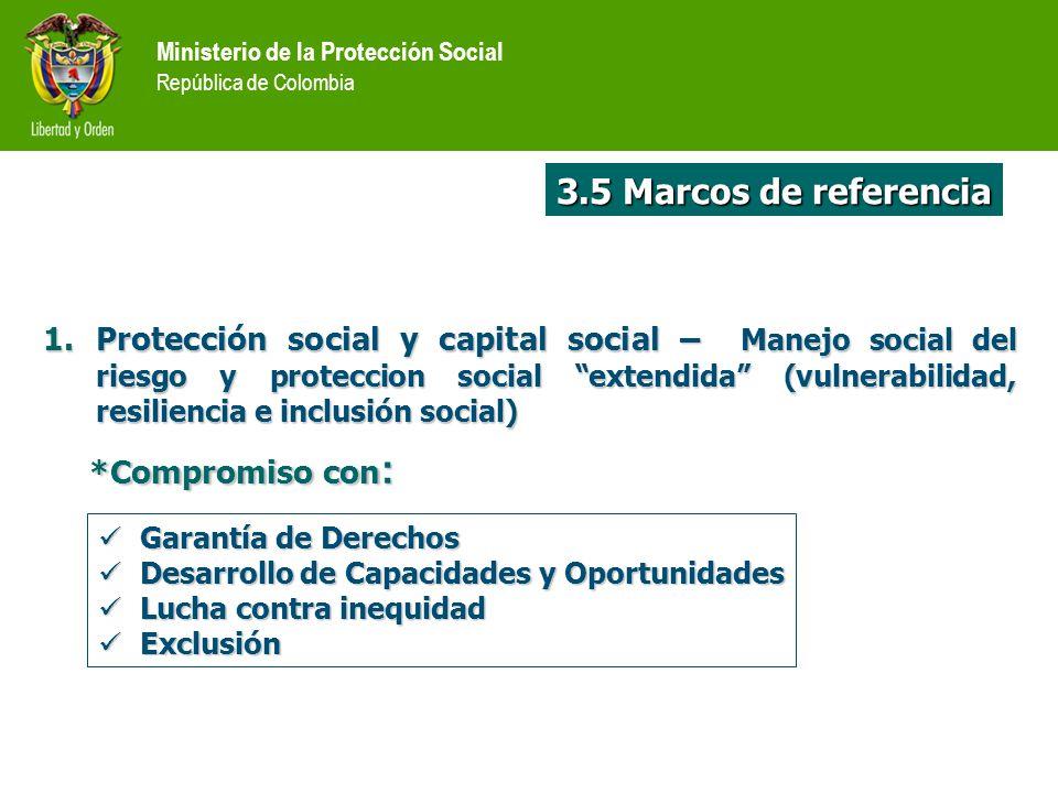 Ministerio de la Protección Social República de Colombia 1.Protección social y capital social – Manejo social del riesgo y proteccion social extendida