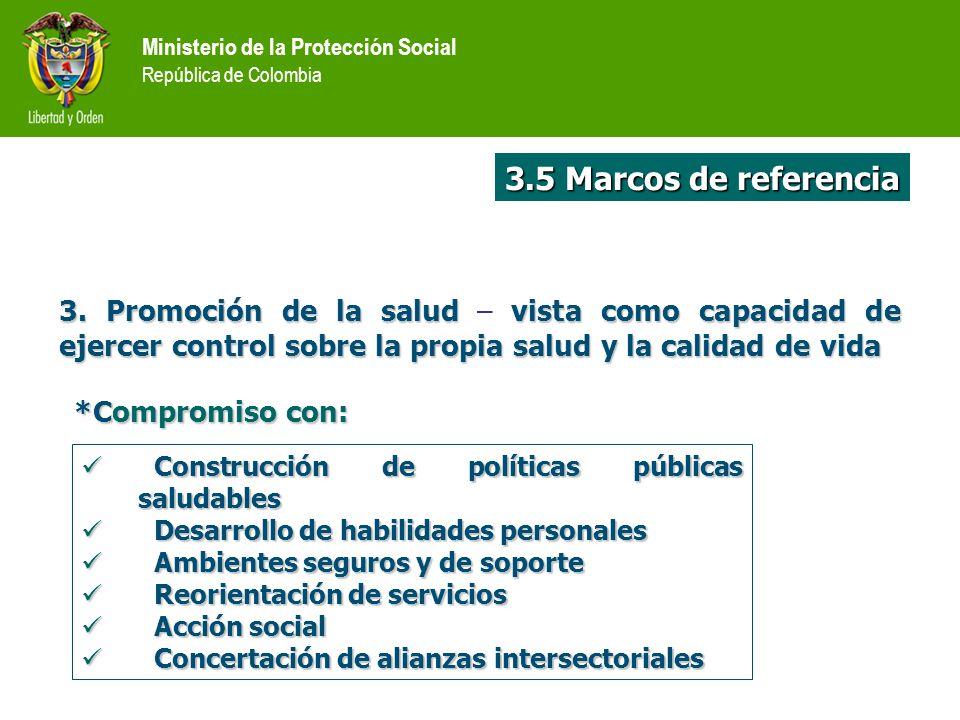 Ministerio de la Protección Social República de Colombia Construcción de políticas públicas saludables Construcción de políticas públicas saludables D