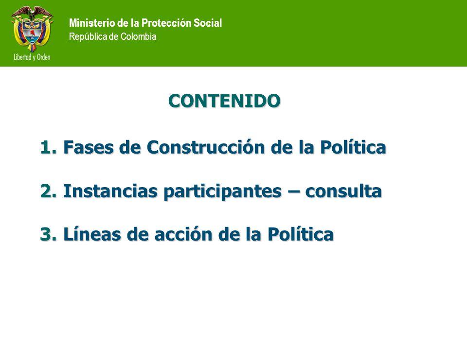 CONTENIDO 1.Fases de Construcción de la Política 2.Instancias participantes – consulta 3.Líneas de acción de la Política