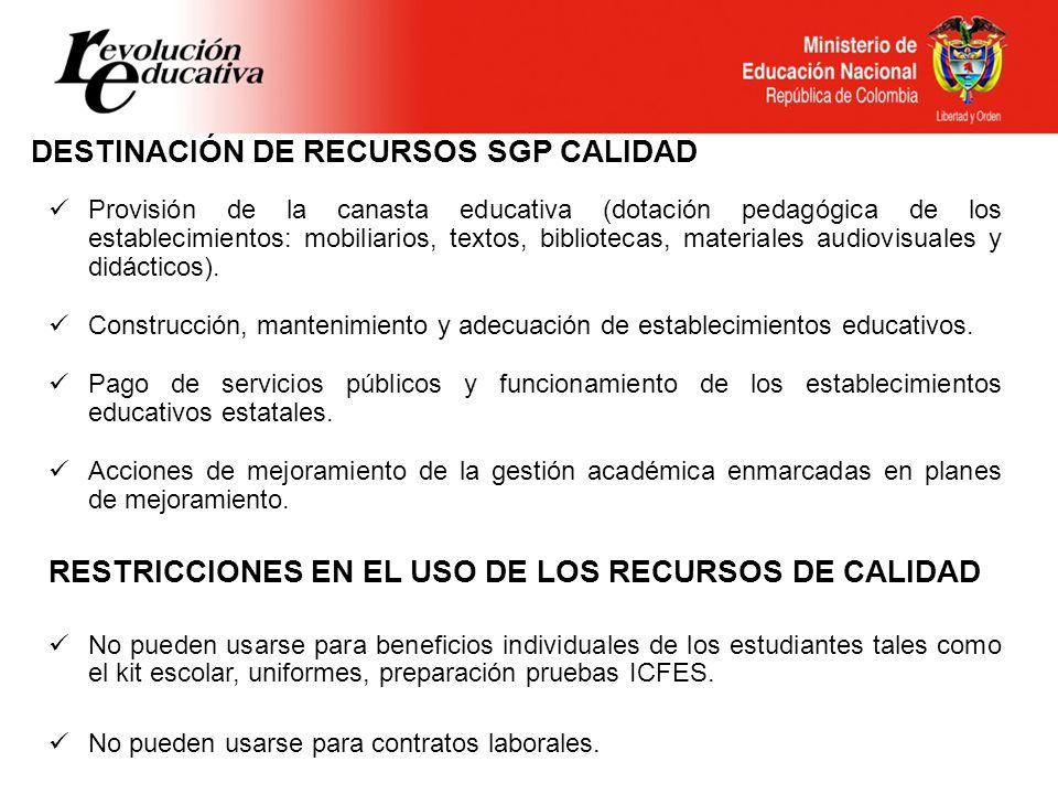 DESTINACIÓN DE RECURSOS SGP CALIDAD Provisión de la canasta educativa (dotación pedagógica de los establecimientos: mobiliarios, textos, bibliotecas,
