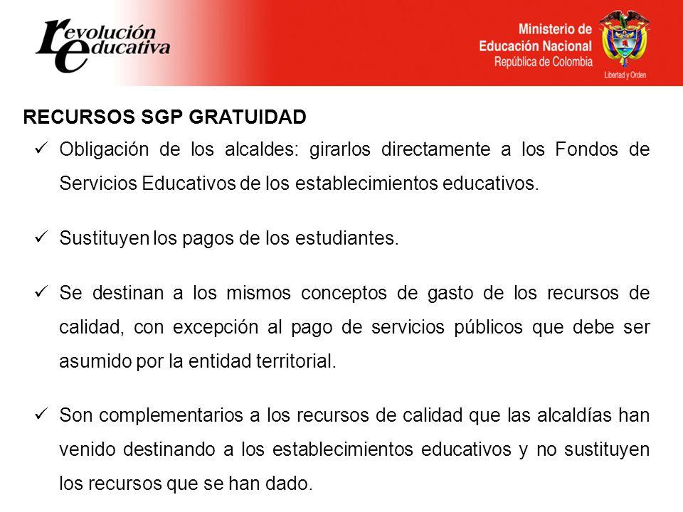 RECURSOS SGP GRATUIDAD Obligación de los alcaldes: girarlos directamente a los Fondos de Servicios Educativos de los establecimientos educativos. Sust