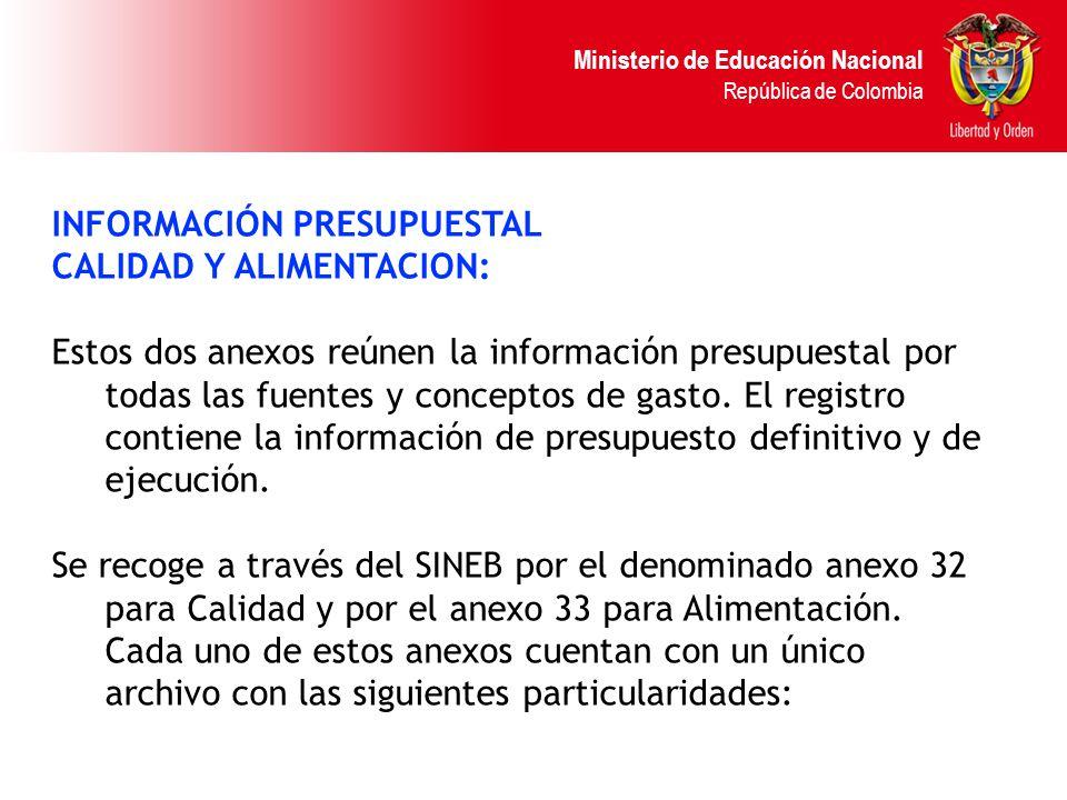 Ministerio de Educación Nacional República de Colombia INFORMACIÓN PRESUPUESTAL CALIDAD Y ALIMENTACION: Estos dos anexos reúnen la información presupu