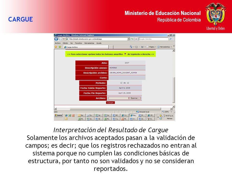 Ministerio de Educación Nacional República de Colombia CARGUE Interpretación del Resultado de Cargue Solamente los archivos aceptados pasan a la valid