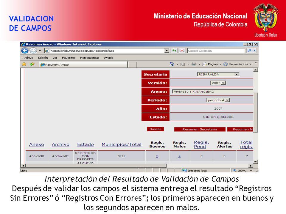 Ministerio de Educación Nacional República de Colombia VALIDACION DE CAMPOS Interpretación del Resultado de Validación de Campos Después de validar lo