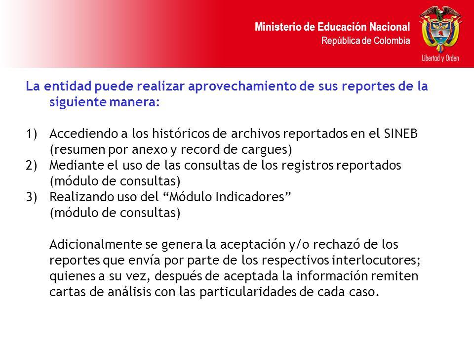 Ministerio de Educación Nacional República de Colombia La entidad puede realizar aprovechamiento de sus reportes de la siguiente manera: 1)Accediendo