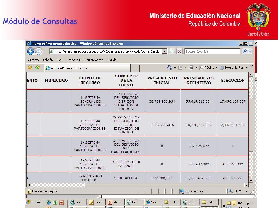 Ministerio de Educación Nacional República de Colombia Módulo de Consultas