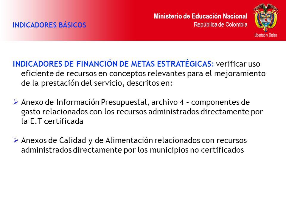 Ministerio de Educación Nacional República de Colombia INDICADORES BÁSICOS INDICADORES DE FINANCIÓN DE METAS ESTRATÉGICAS: verificar uso eficiente de