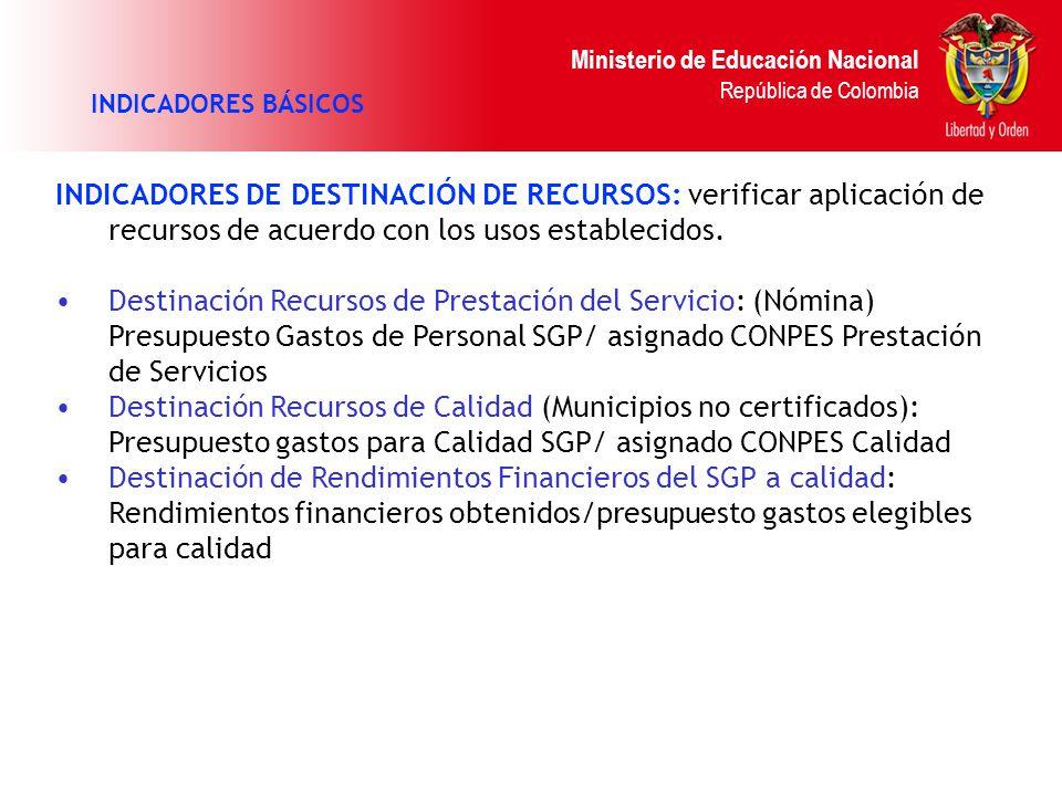Ministerio de Educación Nacional República de Colombia INDICADORES BÁSICOS INDICADORES DE DESTINACIÓN DE RECURSOS: verificar aplicación de recursos de acuerdo con los usos establecidos.