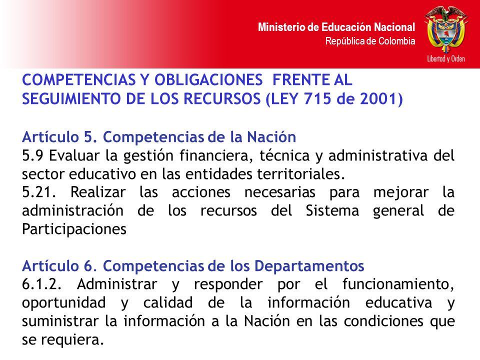 Ministerio de Educación Nacional República de Colombia COMPETENCIAS Y OBLIGACIONES FRENTE AL SEGUIMIENTO DE LOS RECURSOS (LEY 715 de 2001) Artículo 5.