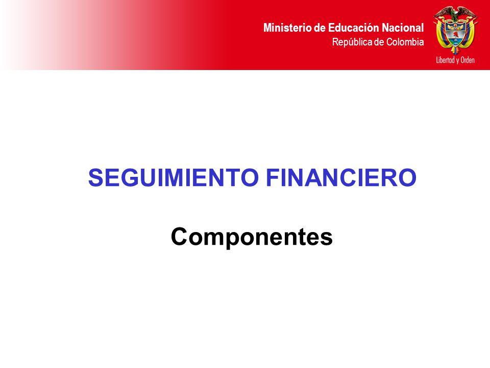 Ministerio de Educación Nacional República de Colombia SEGUIMIENTO FINANCIERO Componentes