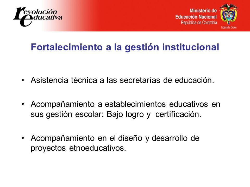 Fortalecimiento a la gestión institucional Asistencia técnica a las secretarías de educación. Acompañamiento a establecimientos educativos en sus gest