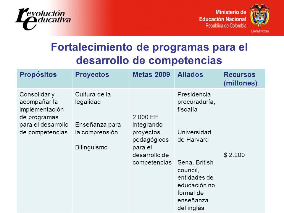 Fortalecimiento de programas para el desarrollo de competencias PropósitosProyectosMetas 2009AliadosRecursos (millones) Consolidar y acompañar la impl