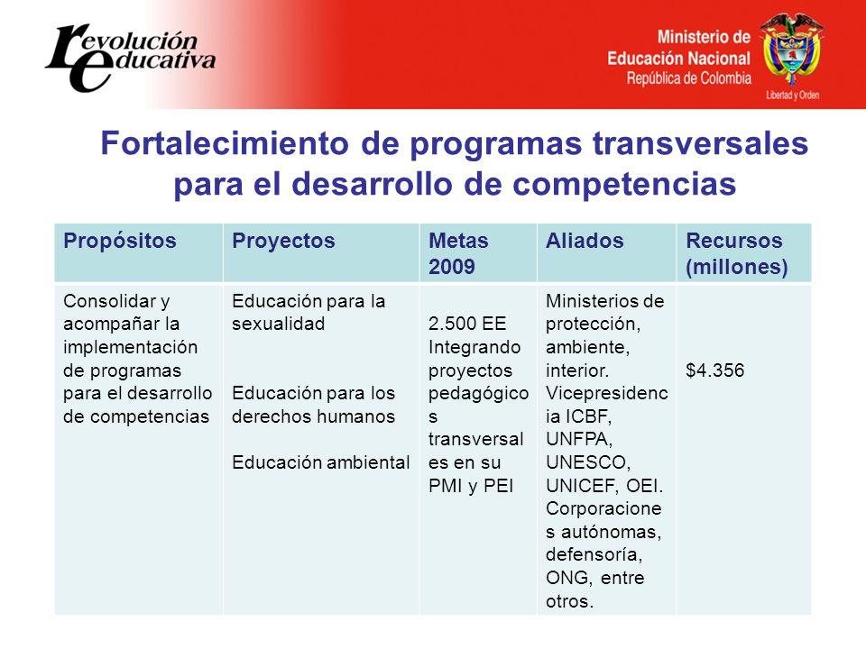 Fortalecimiento de programas transversales para el desarrollo de competencias PropósitosProyectosMetas 2009 AliadosRecursos (millones) Consolidar y ac