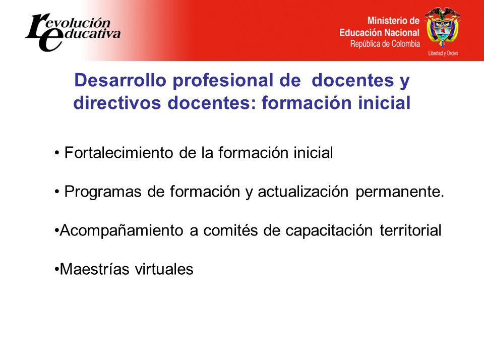 Desarrollo profesional de docentes y directivos docentes: formación inicial Fortalecimiento de la formación inicial Programas de formación y actualiza