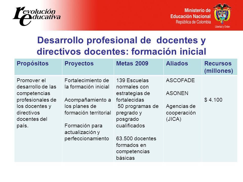 Desarrollo profesional de docentes y directivos docentes: formación inicial PropósitosProyectosMetas 2009AliadosRecursos (millones) Promover el desarr