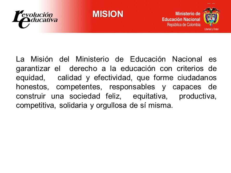 El Ministerio de Educación Nacional será una entidad modelo de gestión y transparencia en el sector publico nacional y educativo internacional, capaz de garantizar que los colombianos accedan a una educación pertinente y de calidad, que fortalezca las competencias básicas y que contribuya a un desempeño ético y efectivo de los ciudadanos en un mundo globalizado.