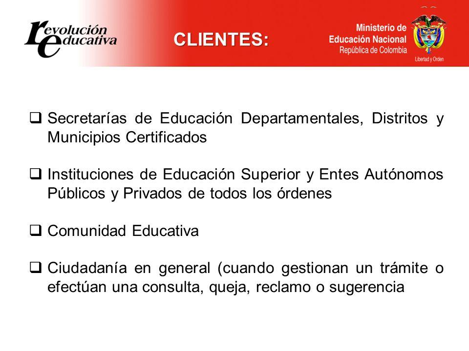 Secretarías de Educación Departamentales, Distritos y Municipios Certificados Instituciones de Educación Superior y Entes Autónomos Públicos y Privado