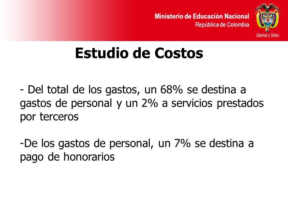 Ministerio de Educación Nacional República de Colombia - Del total de los gastos, un 68% se destina a gastos de personal y un 2% a servicios prestados por terceros -De los gastos de personal, un 7% se destina a pago de honorarios Estudio de Costos