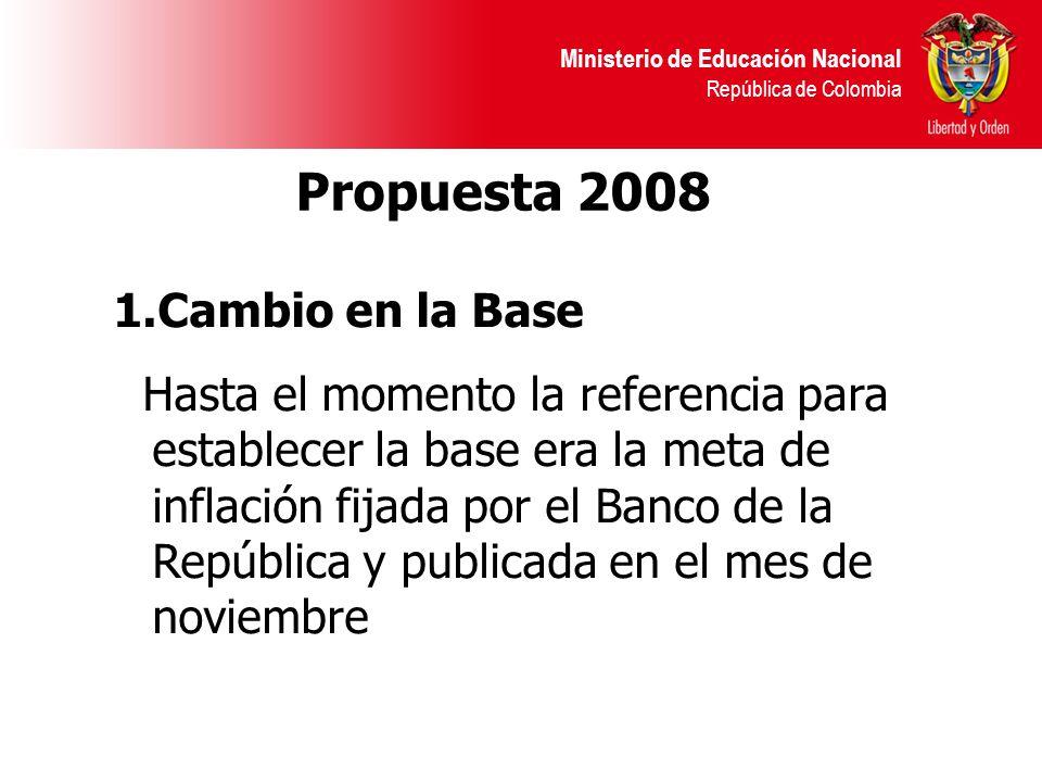 Ministerio de Educación Nacional República de Colombia Propuesta 2008 1.Cambio en la Base Hasta el momento la referencia para establecer la base era la meta de inflación fijada por el Banco de la República y publicada en el mes de noviembre